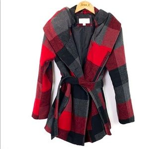 Xhilaration Red and Gray checker Winter Coat